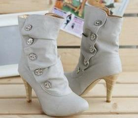 FREE SHIPPING - Lovely winter calf lady mid style boots heels