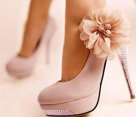 FREE SHIPPING pretty flower pink high heel shoes
