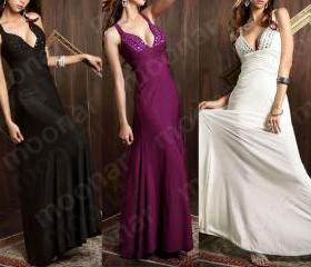 FREE SHIPPING ladies prom deep v bead cross back evening formal gown A - line long cocktail party dress